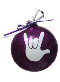 "DISC SHAPES (like an M & M) 3.5 INCHES GLITTER ORNAMENTS  WITH SIGN LANGUAGE HAND "" I LOVE YOU"" (PURPLE GLITTER )"