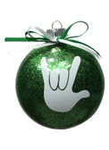 "DISC SHAPES (LIKE AN M & M) 3.5 INCHES GLITTER ORNAMENTS WITH SIGN LANGUAGE HAND "" I LOVE YOU"" (LIME GLITTER )"