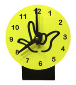 DESK CLOCK , SIGN LANGUAGE WITH BLACK OUTLINE HAND (YELLOW BACKGROUND)