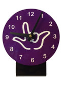 DESK CLOCK , SIGN LANGUAGE WITH WHITE OUTLINE HAND (PURPLE BACKGROUND)