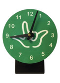 DESK CLOCK , SIGN LANGUAGE WITH WHITE OUTLINE HAND (GREEN BACKGROUND)