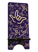 "IPHONE DEVICE STAND WITH SIGN LANGUAGE "" I LOVE YOU "" WHITE HANDS (PURPLE BACKGROUND) FOR IPHONE ."