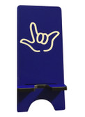 "IPHONE DEVICE STAND WITH SIGN LANGUAGE "" I LOVE YOU "" WHITE HAND (BLUE BACKGROUND) FOR IPHONE"