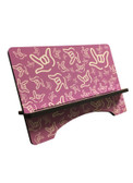 "IPAD DEVICE STAND WITH SIGN LANGUAGE "" I LOVE YOU "" WHITE HANDS (PINK BACKGROUND) FOR IPad"