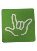 """DRINK COASTER SQUARE PAD SIGN LANGUAGE OUTLINE HAND """" I LOVE YOU""""  ( LIME BACKGROUND / WHITE HAND)"""
