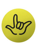 "DRINK COASTER CIRCLE PAD SIGN LANGUAGE OUTLINE HAND "" I LOVE YOU""  ( YELLOW BACKGROUND / BLACK HAND)"