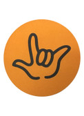 "DRINK COASTER CIRCLE PAD SIGN LANGUAGE OUTLINE HAND "" I LOVE YOU""  ( ORANGE BACKGROUND / BLACK HAND)"
