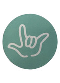 """DRINK COASTER CIRCLE PAD SIGN LANGUAGE OUTLINE HAND """" I LOVE YOU""""  ( TURQUOISE BACKGROUND / WHITE HAND)"""