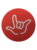 "DRINK COASTER CIRCLE PAD SIGN LANGUAGE OUTLINE HAND "" I LOVE YOU""  ( RED BACKGROUND / WHITE HAND)"