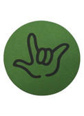 "DRINK COASTER CIRCLE PAD SIGN LANGUAGE OUTLINE HAND "" I LOVE YOU""  ( GREEN BACKGROUND / BLACK HAND)"