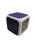 """CUBE CLOCK WITH COLOR CHANGEABLE GLOWING LED SIGN LANGUAGE HAND """"I LOVE YOU"""" ( Purple with Black Hand)"""