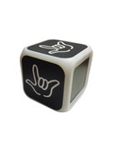 """CUBE CLOCK WITH COLOR CHANGEABLE GLOWING LED SIGN LANGUAGE HAND """"I LOVE YOU"""" ( Black with White Hand"""