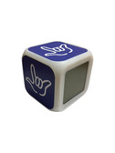 """Cube Clock with Color Changeable glowing LED Sign Language hand """"I LOVE YOU""""  (Royal with White hand)"""