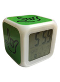 """CUBE CLOCK WITH COLOR CHANGEABLE GLOWING LED SIGN LANGUAGE HAND """"I LOVE YOU"""" ( Lime with Black Hand)"""