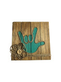 """WOODEN PALLET BLOCK WALL DECOR WITH SIGN LANGUAGE """" I LOVE YOU"""" HAND ( TEAL)"""