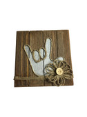 """Wooden Pallet Block Wall Decor with Sign Language """" I LOVE YOU"""" hand (Gysey Rose)"""