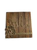 """Wooden Pallet Block Wall Decor with Sign Language """" I LOVE YOU"""" hand (Coffee Latte)"""