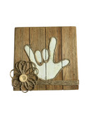 """WOODEN PALLET BLOCK WALL DECOR WITH SIGN LANGUAGE """" I LOVE YOU"""" HAND (White)"""