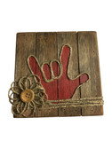 """Wooden Pallet Block Wall Decor with Sign Language """" I LOVE YOU"""" hand (Rusty Red)"""