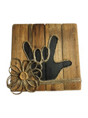 """Wooden Pallet Block Wall Decor with Sign Language """" I LOVE YOU"""" hand (Black)"""