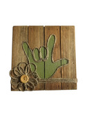 """Wooden Pallet Block Wall Decor with Sign Language """" I LOVE YOU"""" hand (Lime)"""