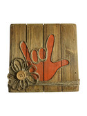 """Wooden Pallet Block Wall Decor with Sign Language """" I LOVE YOU"""" hand (Orange)"""