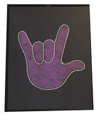 """Purple Lace with Sign Language hand """"  I LOVE YOU """" Wall Decor Frame"""