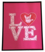 """Pink Lace with LOVE words Sign Language hand """"  I LOVE YOU """" Wall Decor Frame"""
