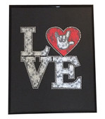 """Black with White Lace with LOVE words Sign Language hand """"  I LOVE YOU """" Wall Decor Frame"""
