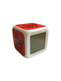 """CUBE CLOCK WITH COLOR CHANGEABLE GLOWING LED SIGN LANGUAGE HAND """"I LOVE YOU"""" (ORANGE WITH BLACK HAND)"""