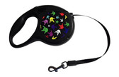 "RETRACTABLE PET DOG LEASH TAPE WITH SIGN LANGUAGE "" I LOVE YOU"" HANDS MULTI COLORS ( SMALL) 16 LONG FEET"