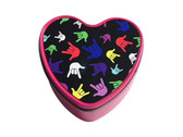 """Heart Candle Tins with Sign Language """" I LOVE YOU"""" Multi-Colors Hands (SMALL PINK)  ROSE SCENTED"""