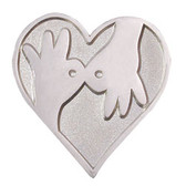 Interpreter hand with heart Pin (Silver shinny)