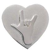 I LOVE YOU w/heart  Pin (shinny silver)