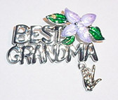 Best GrandMa w/Purple Flower & ILY (Silver) Pin (Out of Stock)