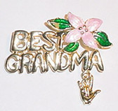Best GrandMa with Pink Flower & ILY (Gold) Pin ( OUT OF STOCK)
