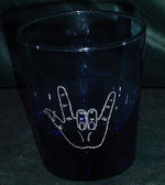 Etched Glass with ILY (Blue) (Small )