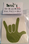 Auto Decals Sticker Window, Large I LOVE YOU Hand (Olive)