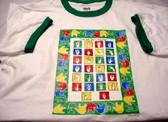 A to Z Sign Langauge Shirt (Green Ringer) ADULT SIZE