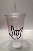 Tumbler with Straw Small Clear with Black I LOVE YOU  (16 oz.)