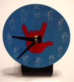 Desk Clock , Finger number with (Red Hand) Blue background