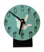 Desk Clock , Finger number with (White Hand) Light Blue