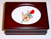 Wooden Jewelry Box w/ILY Tan and Rose (Oval) Cherry