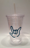 Tumbler with Straw Small Clear with TEAL I LOVE YOU ( 16 oz.)