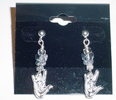GlassBeads Silver Earring (Clear) with Butterfly