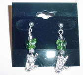GlassBeads Silver Earring (Green) with Butterfly ILY Hand