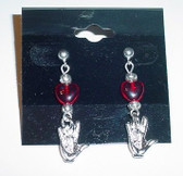 Glassbead Red Heart Earring with (Silver) ILY Hand