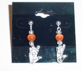 Cateye GlassBead (Orange) with Silver ILY Hand