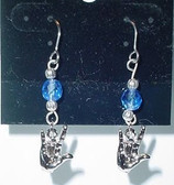 (Hook) GlassBead (Blue Crystal) with Silver ILY Hand
