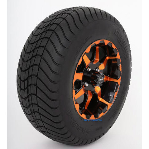 "12"" STI HD6 RADIANT ORANGE/Black Wheels and 23"" Slasher GFX DOT Street Tires - Set of 4"